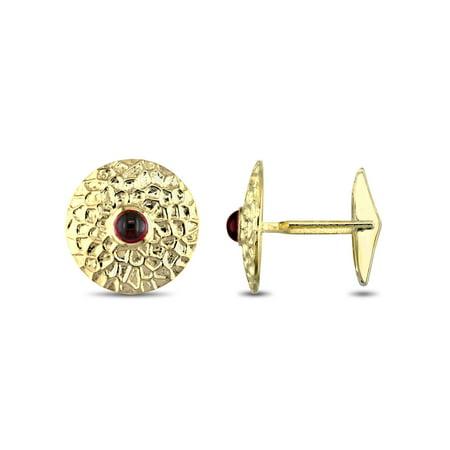 - Tangelo 1-3/8 Carat T.G.W. Garnet 14kt Yellow Gold Textured Cufflinks
