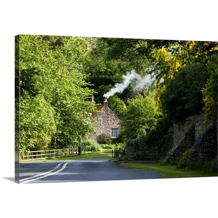 Great Big Canvas John Short Premium Thick Wrap Canvas Entitled A Road Surrounded By Trees Leading To A House  Northumberland  England
