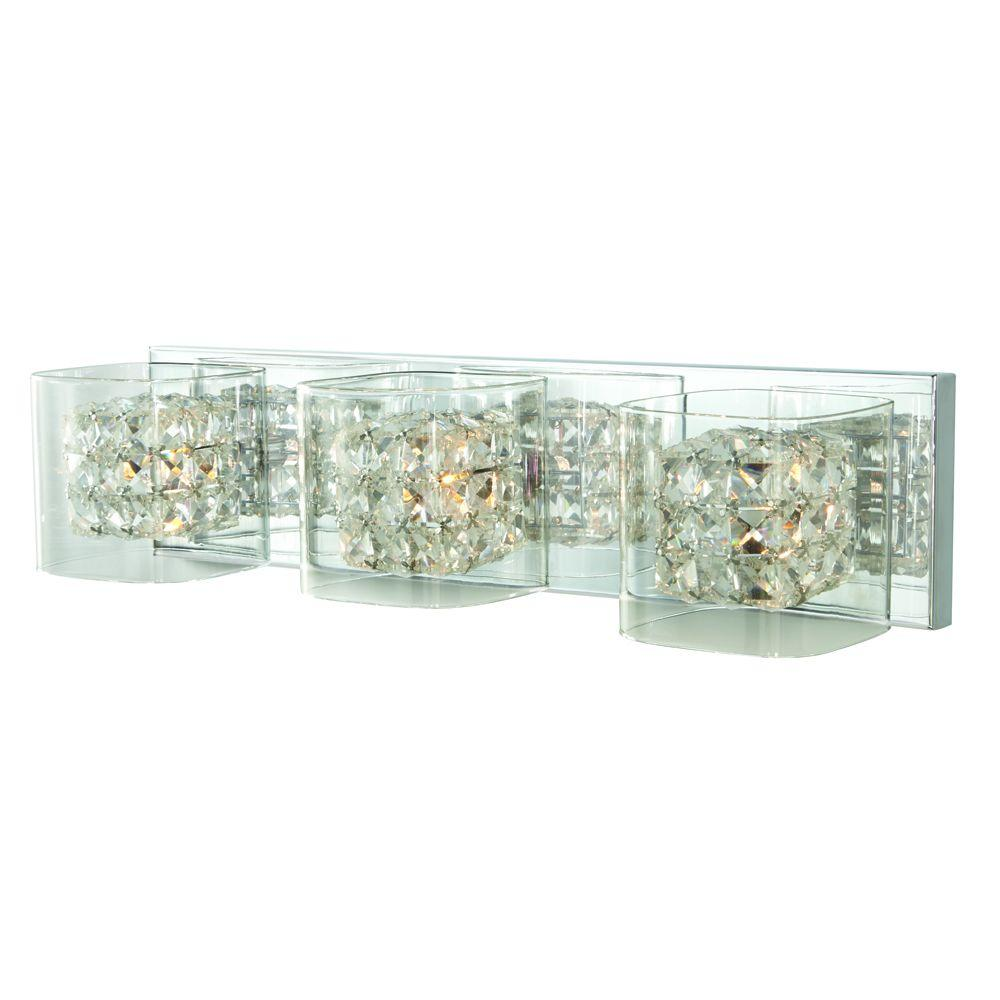Home Decorators Collection Crystal Cube 3 Light Polished Chrome Vanity  Light (Store Return)   Walmart.com