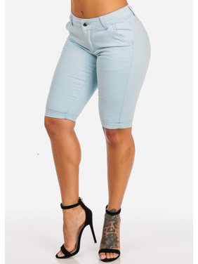 b8ac20915c3f Product Image Womens Juniors High Waist Mauve One Button Pockets Cuffed Hem  Bermuda Shorts 10478L