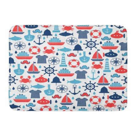 GODPOK Red Summer Navy Baby Marine Other Design Blue Boy White Boat Rug Doormat Bath Mat 23.6x15.7 inch
