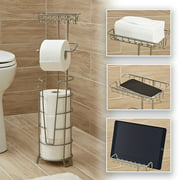 Better Homes & Gardens Toilet Paper Holder with Large Top Shelf, Satin Nickel