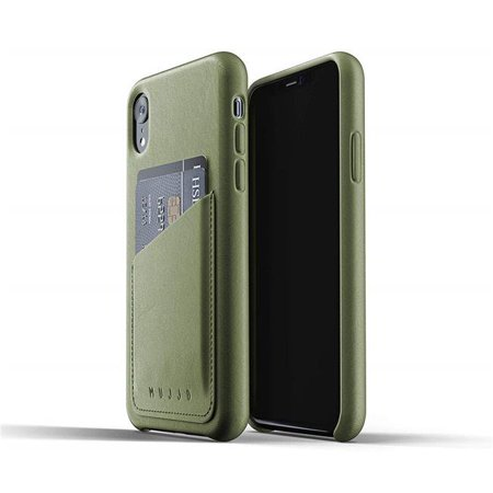 Mujjo MUJJO-CS-104-OL Full Leather Wallet Case for iPhone XR - Olive ()
