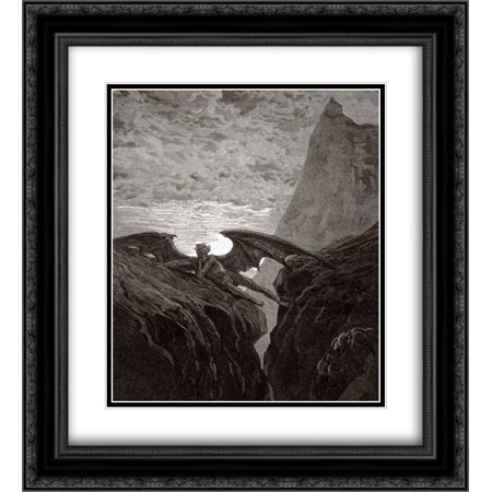 Satan Resting On The Mountain - from Miltons Paradise Lost 2x Matted 20x22 Black Ornate Framed Art Print by Dore,
