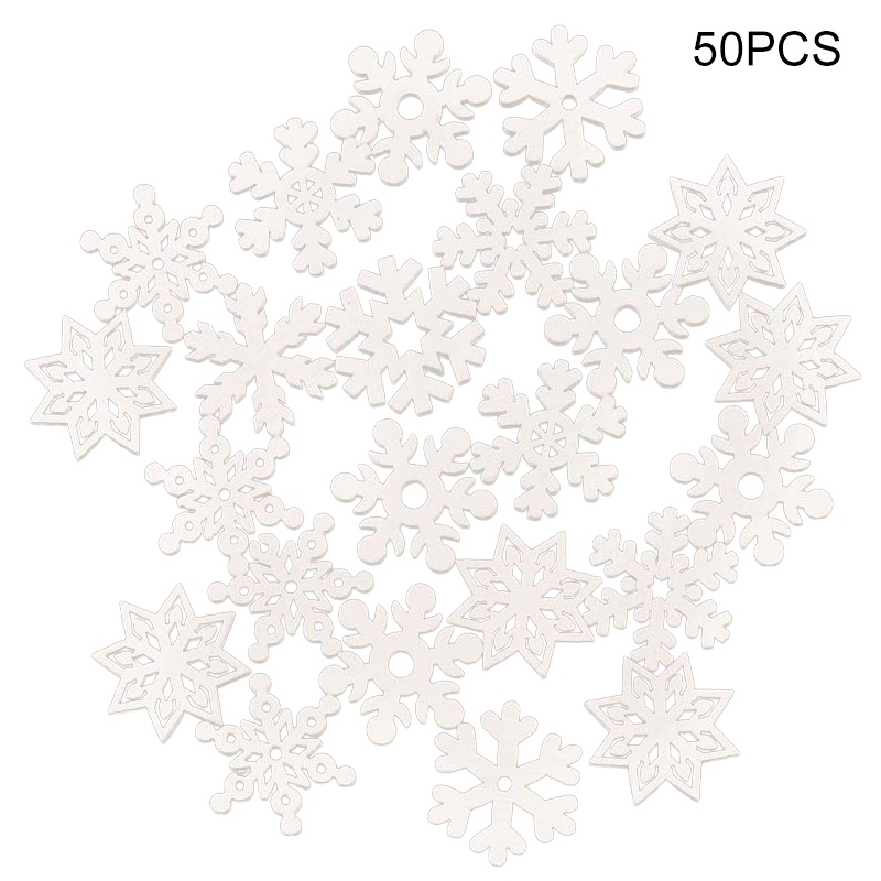 Hestya 50 Pieces Wooden Snowflake Ornaments Unfinished DIY Wood Snowflake Cutouts Christmas Tree Hanging Ornaments with Strings for DIY Christmas Decorations 5cm