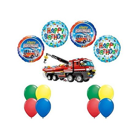LEGO CITY Fire Engine Firetruck Birthday Party Fire Truck Balloon Kit 13 pc - Party City Ri