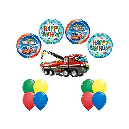 LEGO CITY Fire Engine Firetruck Birthday Party Fire Truck Balloon Kit 13 pc Kit