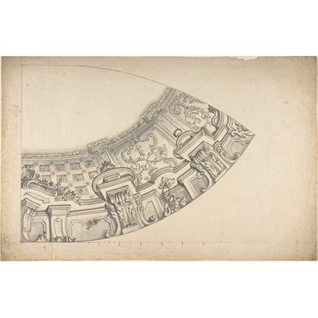 Design for a Curved Ornamental Cove to Support a Dome Poster Print by Anonymous Italian Piedmontese 18th century (18 x 24)