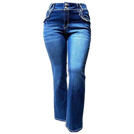 f4e65bff4f918 Diamante Womens Plus Size Strech Straight Leg Denim jeans Pants Blue ...
