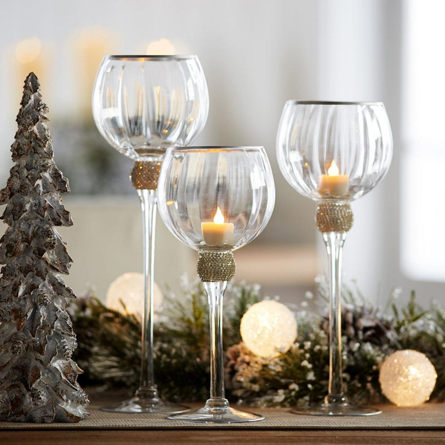 Set of 3 Beveled Glass Clear and Gold Accented Decorative Votive Candle Holders