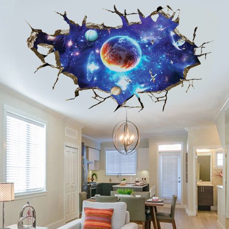 Outer Space Decorations (3D Floor Wall Stickers Planet Outer Space Children Kids Bedroom Living Room Wall Decals Sticker Home Decoration)