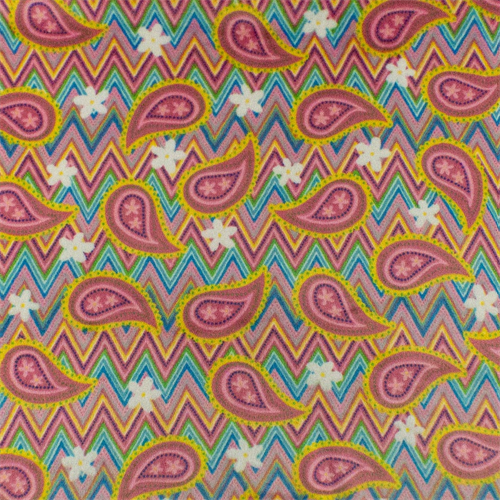 Pink/Multi Chevron Floral Paisley Minky, Fabric By the Yard