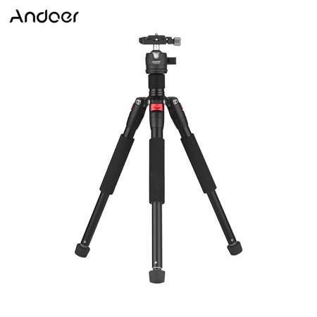 "Andoer K521S Portable 5-section Extendable Aluminum Alloy Tripod with Mini Ball Head Low Center of Gravity 1/4"" Screw Mount for Canon Nikon Sony DSLR ILDC Cameras Max. Load 5kg 87cm"