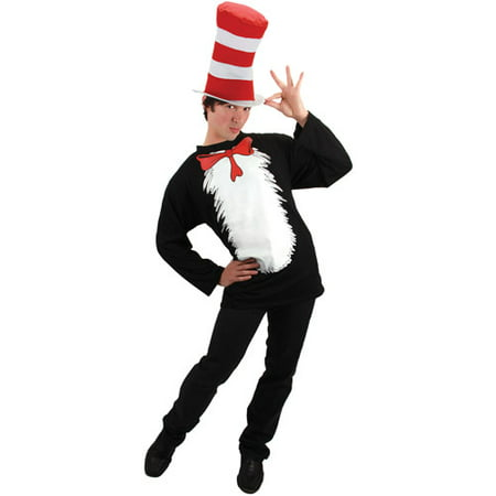 Dr. Seuss Cat in the Hat Adult Halloween Costume (Halloween Cat Face Makeup Adults)