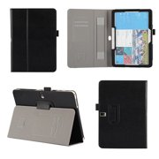 DigitalsOnDemand ® Slim Executive Black Leather Folio Cover Case Stand for Samsung Galaxy Tab 4 10.1 - Credit Card Holders, Wallet Pouch and Elastic Hand Held Interior Holding Strap