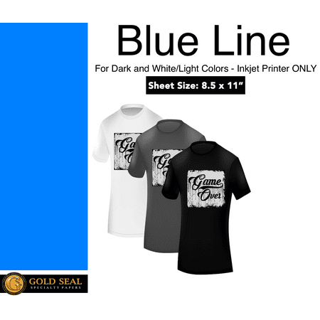 Blue Line Dark Iron On Heat Transfer Paper for Inkjet 8.5 X 11 - 10