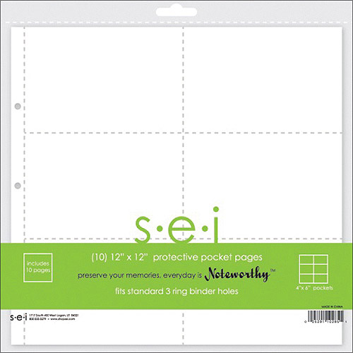 SEI 10285 12 inch X12 inch Pages With 4 inch X6 inch Pockets 10-Pkg
