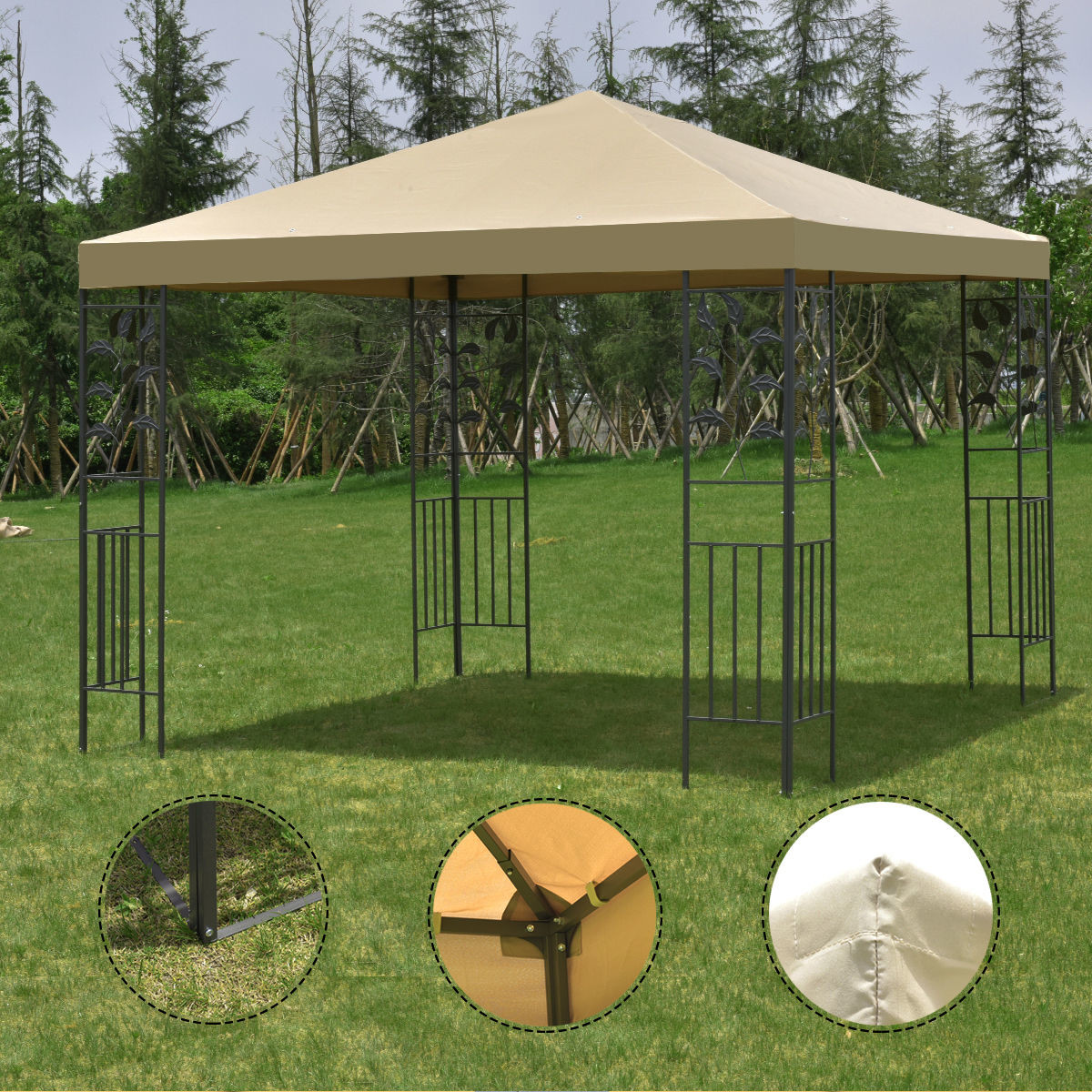 Outdoor 10'x10' Square Gazebo Canopy Tent Steel Frame Shelter Awning Brown by