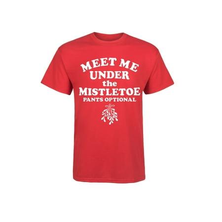 Meet Me Under The Mistletoe Pants Optional - Mens Short Sleeve Tee Shirt (Clothing Optional Galleries)