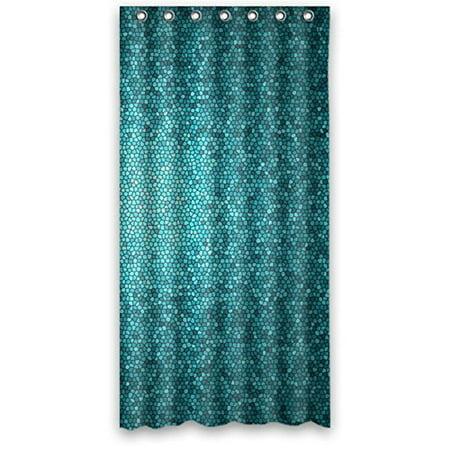 HelloDecor Mosaic Teals Aquas Lagoon Blue Shower Curtain Polyester Fabric Bathroom Decorative Curtain Size 48x72 Inches Blue Mosaic Shower Curtain