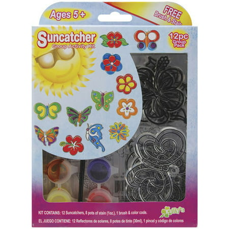 Kelly's Crafts Suncatcher Group Pack - Butterfly Flower (Stained Glass Butterfly Suncatcher)