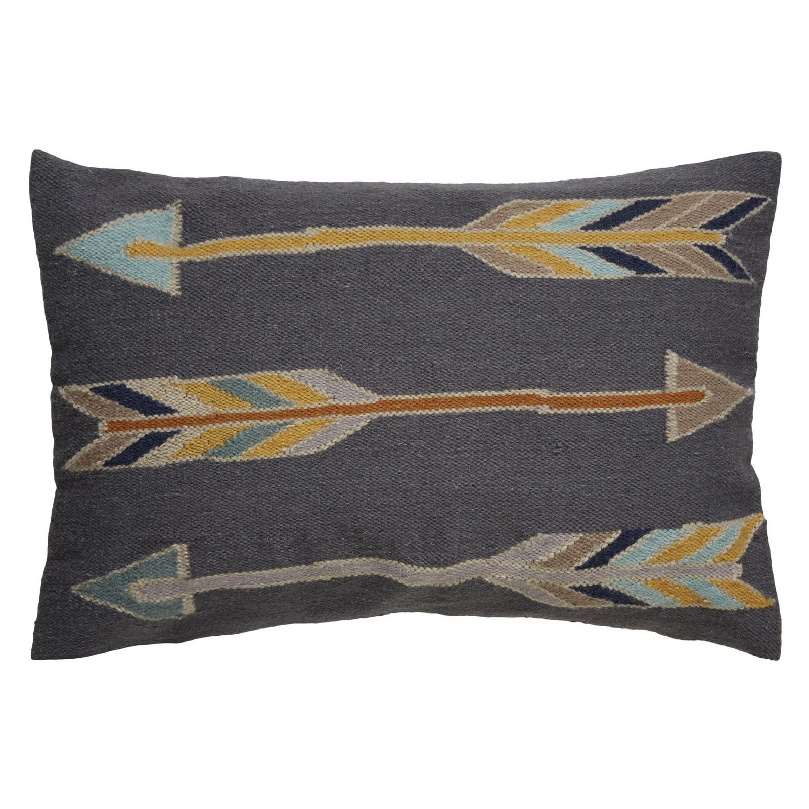 Jaipur Arrow Pattern Wool and Cotton Decorative Pillow