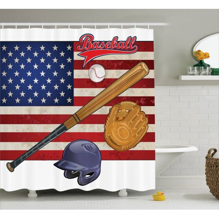 Sports Decor Shower Curtain Set Usa American Flag And Baseball Equipment Champion Tournament Art