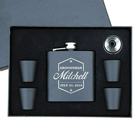 Engraved Personalized Groomsmen Flasks Gift Box Set - Wedding Favors - Custom Monogram Groomsman - Badge Style - -