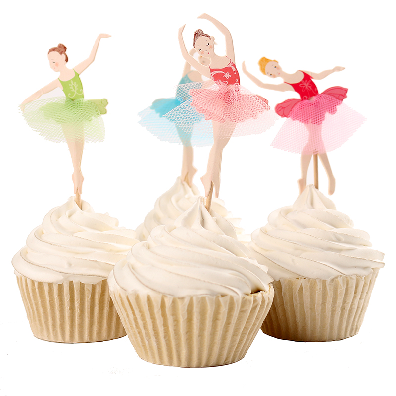 12 Ballet Ballerina Picks Pics Cupcake Cake Birthday Party Favors Toppers