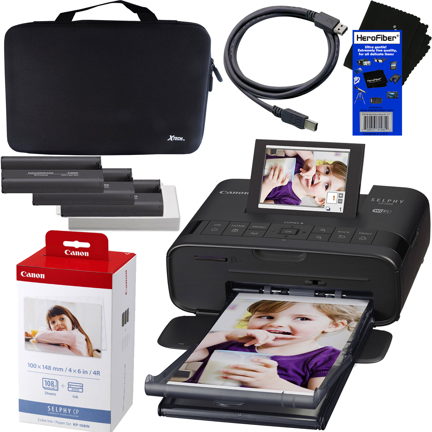 "Canon SELPHY CP1300 Wireless Compact Photo Printer (Black) + Canon KP-108IN Color Ink Paper Set (Produces up to 108 of 4 x 6"" prints) + Xtech Custom Case + USB Printer Cable + HeroFiber Cleaning Cloth"