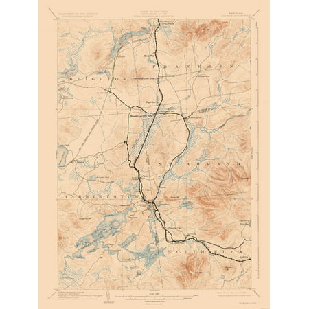 Topographic Map Saranac New York Quad Usgs 1904 23 X 30 72