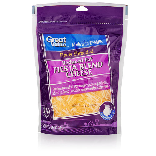 Great Value Finely Shredded Reduced Fat Fiesta Cheese Blend, 7 oz