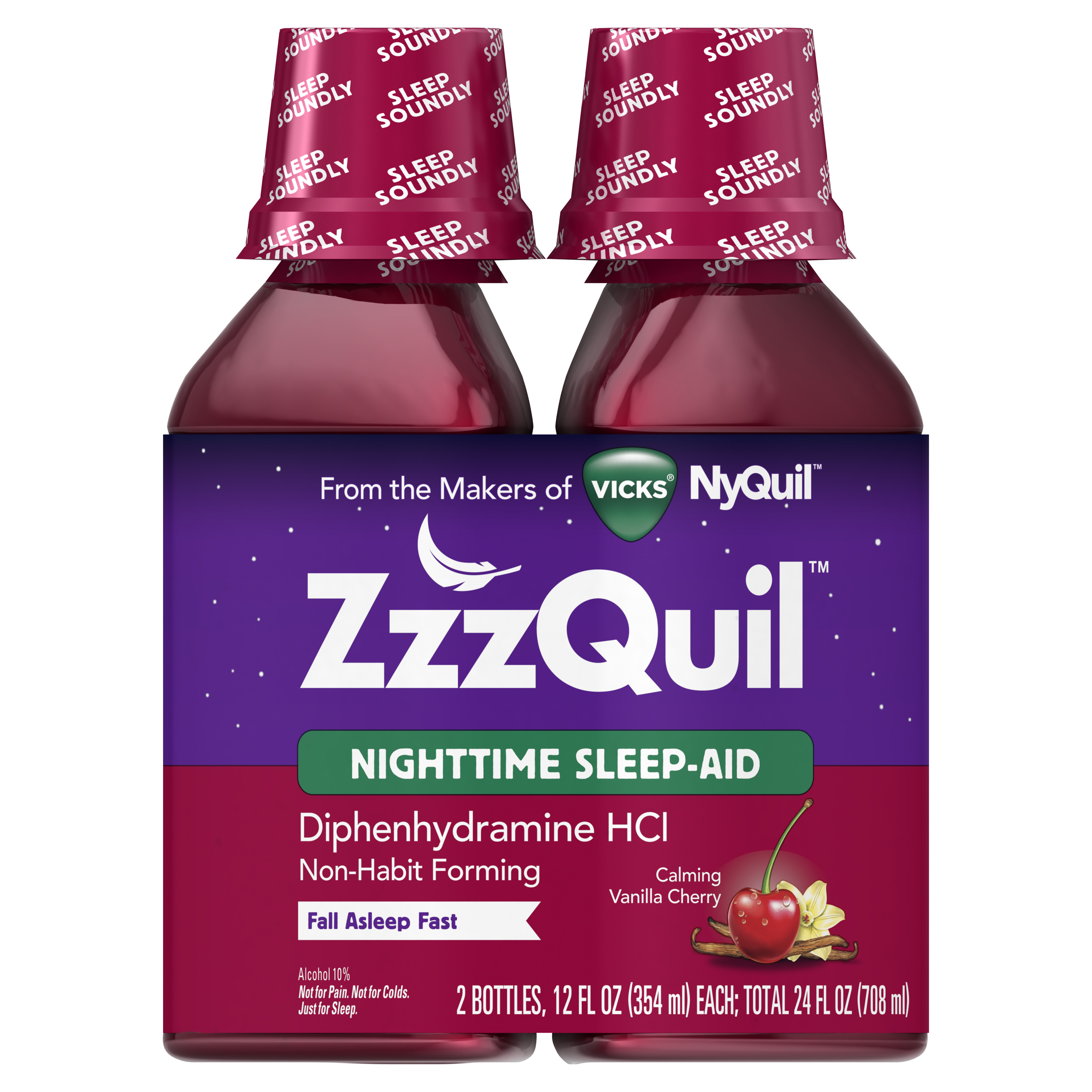 Vicks ZzzQuil Nighttime Sleep Aid, Calming Vanilla Cherry Liquid, 12 oz., 2-pack