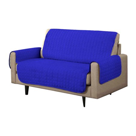 Ktaxon double sided micro suede sofa loveseat cushion slipcover dark blue light blue Blue loveseat slipcover