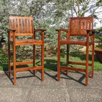 Highland Acacia Americana Bar-height Arm Chair (Set of 2)