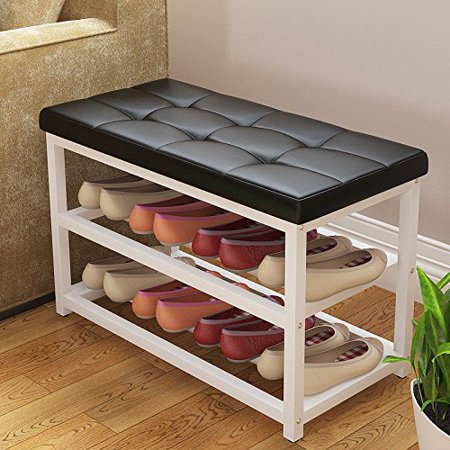 Magshion Metal Shoe Bench 2-Tier Shoe Rack Entryway Shoe Storage Organizer Faux Leather Top