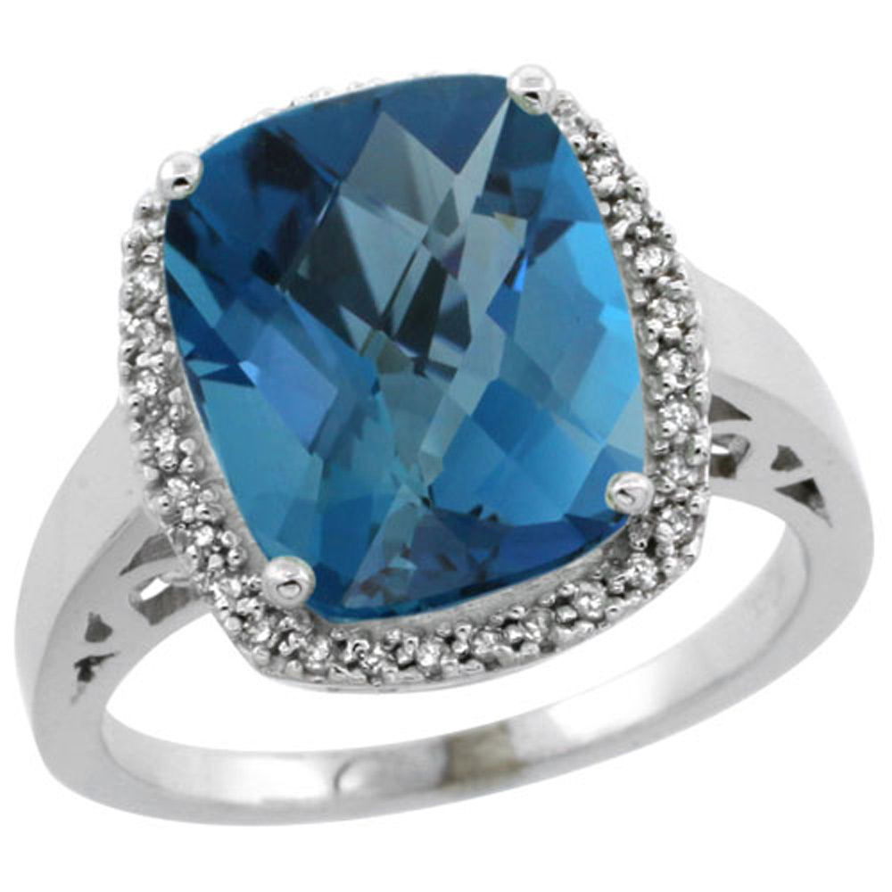 Sterling Silver Diamond Natural London Blue Topaz Ring Cushion-cut 12x10mm, 1 2 inch wide, sizes 5-10 by WorldJewels
