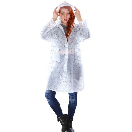 Jackets Mid Length Jacket - Transparent Emergency Hooded Knee-Length Rain Coat with Pockets
