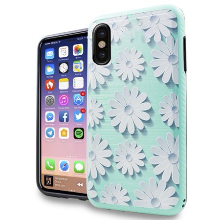 Kaleidio Case For Apple iPhone XS / X [Vector Armor] Slim Fit Hybrid [Shockproof] Lightweight TPU 2-Piece Carbon Fiber Accent Cover w/ Overbrawn Prying Tool [Teal Daisy Design] ()