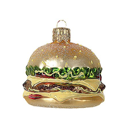 Miniature Cheeseburger Glass Christmas Ornament Fast Food ...