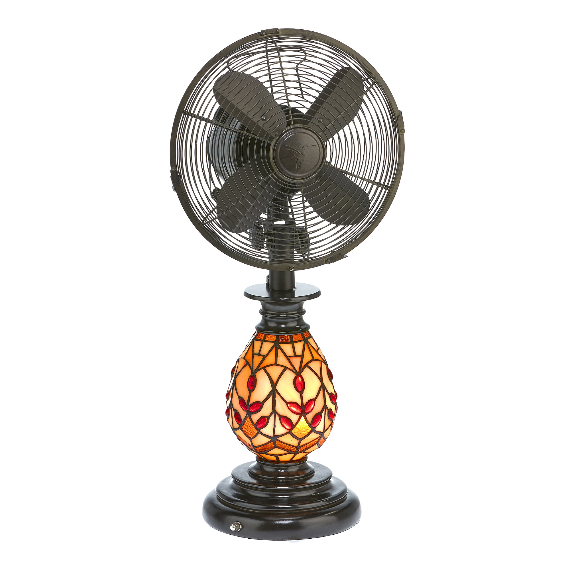 """25"""" Brown and Red Tiffany Glass Edwardian Table Fan with Light"""
