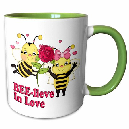 3dRose Cute Believe In Love Bumble Bees Valentine - Two Tone Green Mug, 11-ounce (Bee Valentine)