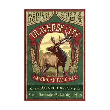 Traverse City, Michigan - Elk Head Pale Ale Vintage Sign Print Wall Art By Lantern Press - Halloween City In Michigan