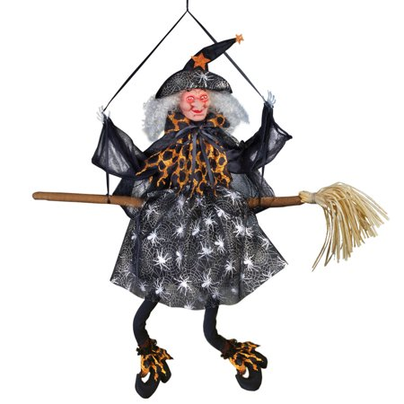 Animated Halloween Witch Hanging Decoration, Sound Activated with Light Up Eyes - Halloween Window Decorations Eyes