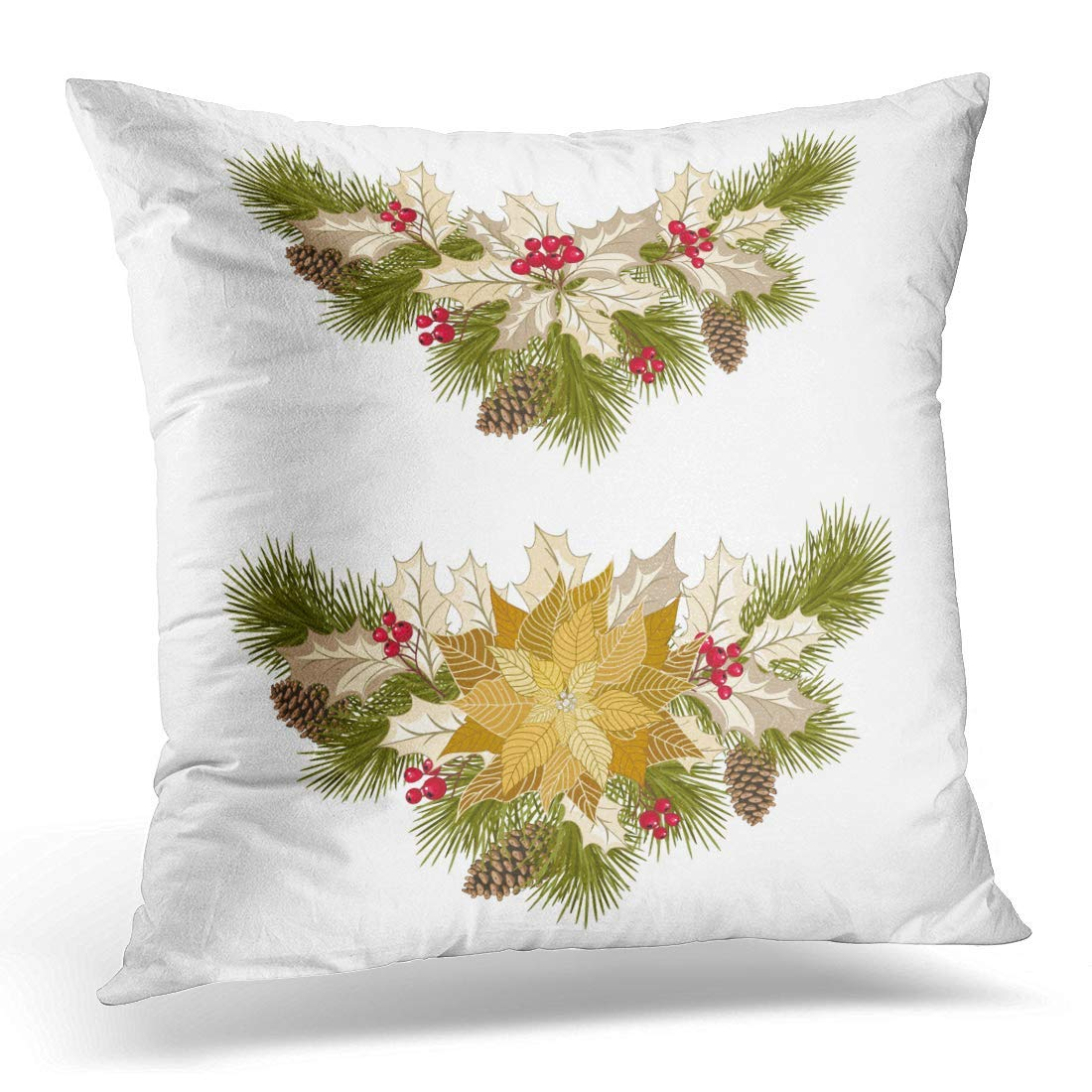 USART Berry Christmas with Golden Poinsettia Fir Tree Pine Cones Holly Berries and Design in Gold Style Pillow Case Pillow Cover 20x20 inch