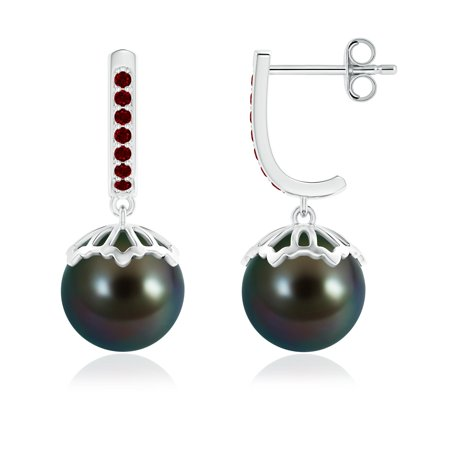 Mother's Day Sale - Classic Tahitian Cultured Pearl & Ruby Dangle Earrings in Silver (9mm Tahitian Cultured Pearl)- SE1206THPRR-SL-AAAA-9