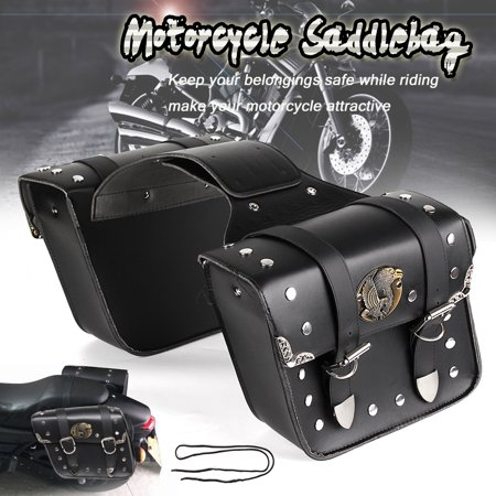 Pu Leather Motorcycle Saddle Bags Pouch Luggage For Harley Sportster Xl 883 1200