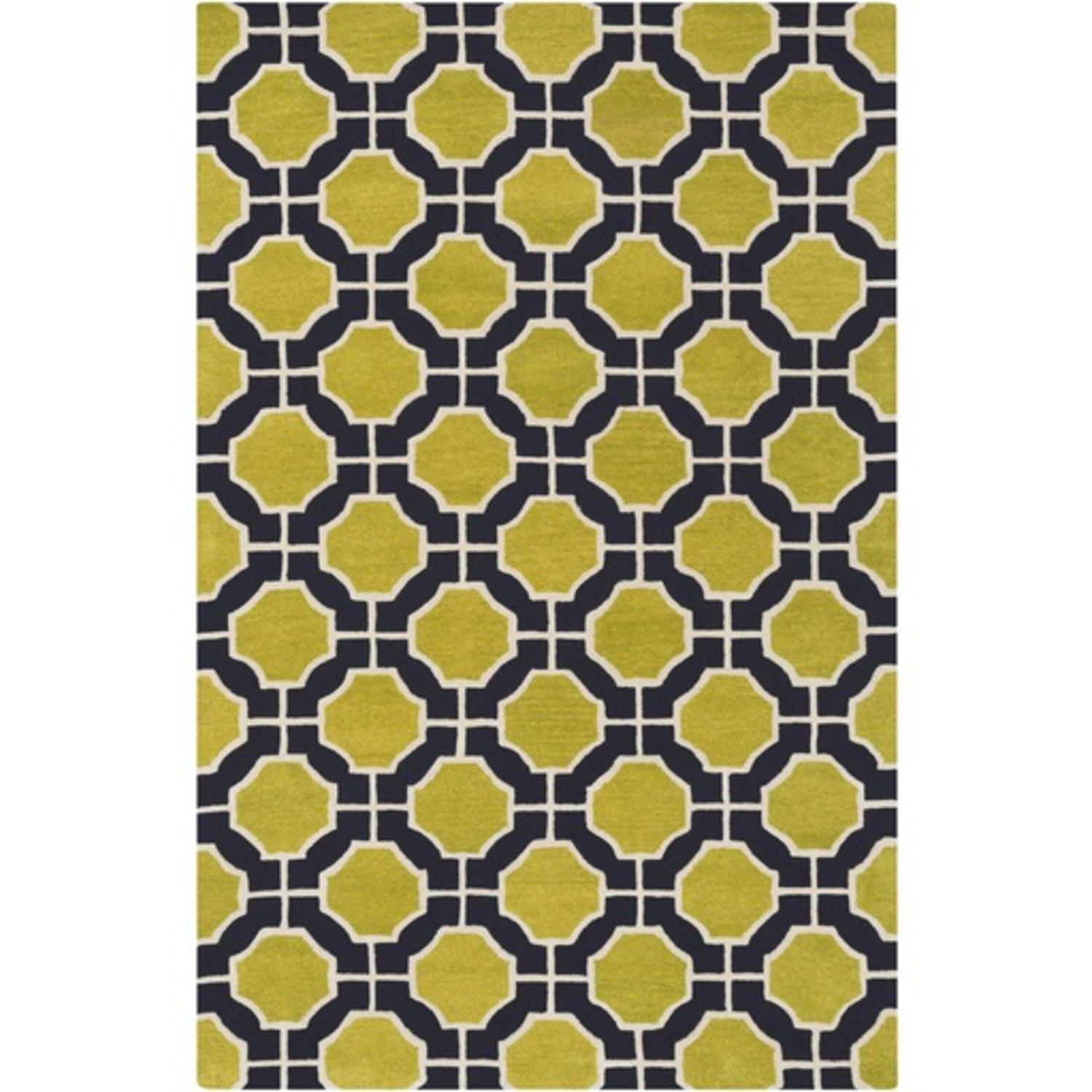 5' x 8' Octo Placid Electric Green, Ivory White and Black Area Throw Rug