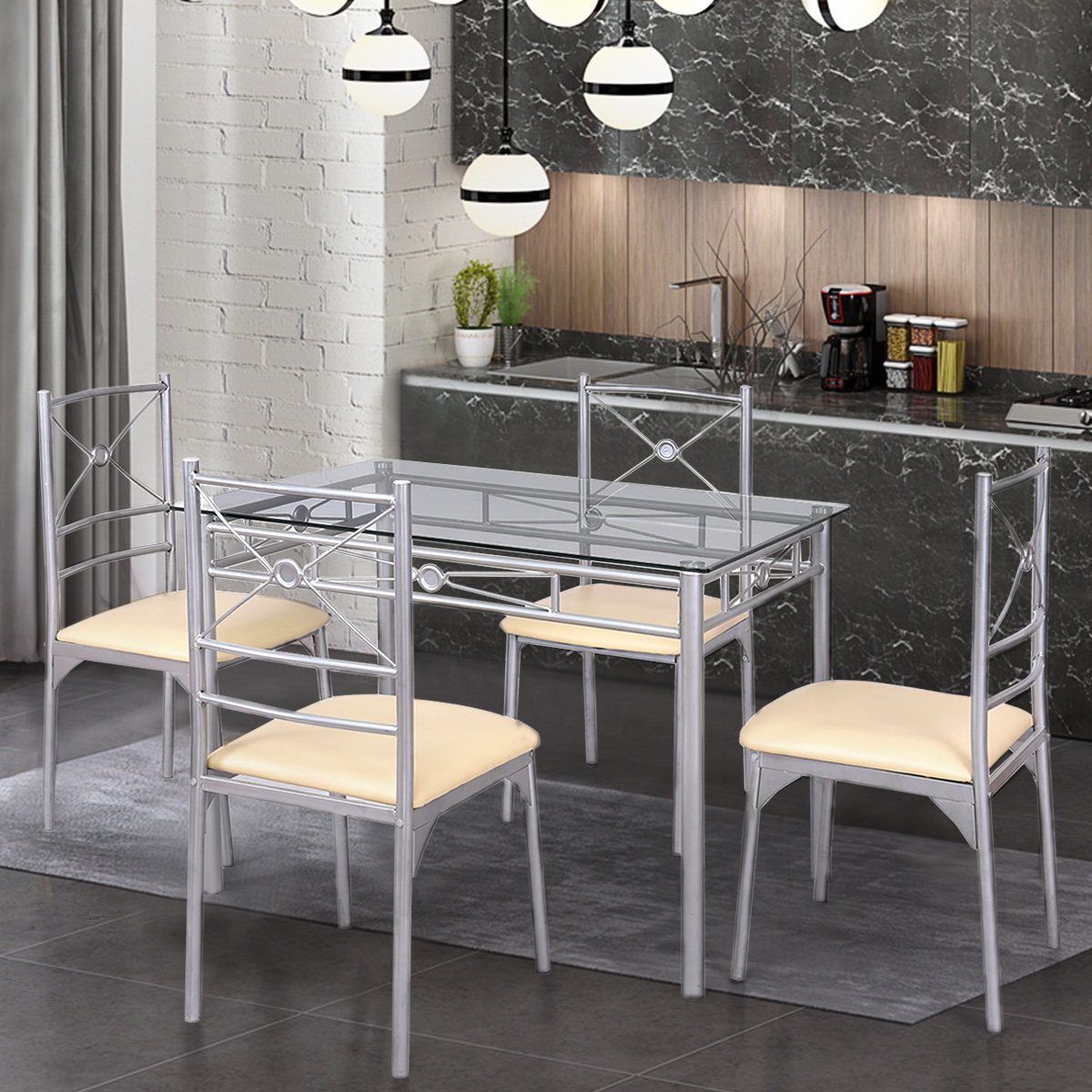 Gymax Dining Set 5 Piece Table Chairs Tempered Glass Kitchen Dining Room Furniture