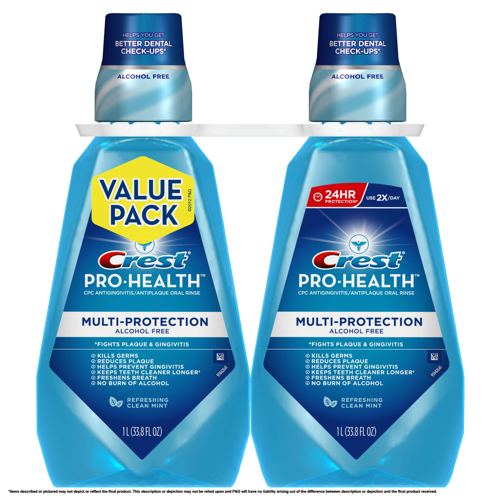 Crest Pro-Health Multi-Protection Refreshing Clean Mint Flavor Mouthwash Twin Pack 2 L